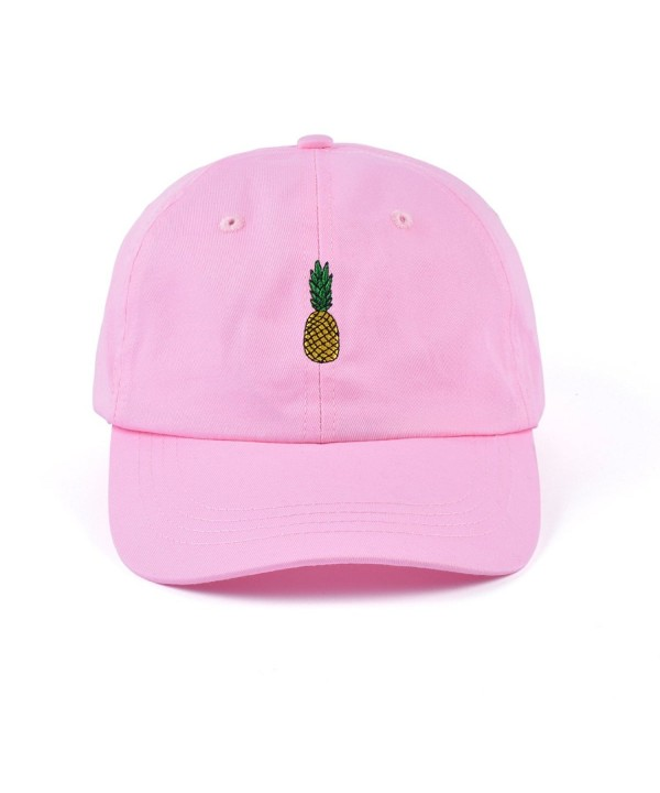 AUNG CROWN Pineapple Embroidered Dad Hat Cotton Women Men Cute Adjustable Baseball Cap - Medium Pink - CZ180RGUMIT