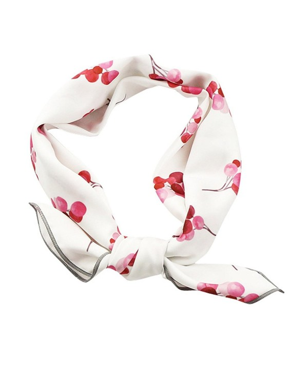 GERINLY Womens Neckerchief - Red Cherry Print 20 inches Square Hair Scarf - White - C7184DQCH48