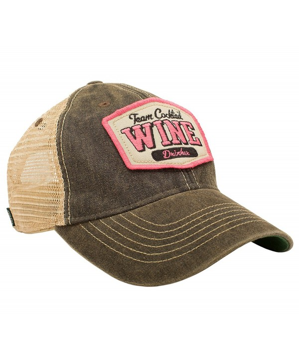 TEAM COCKTAIL Wine Drinker Mesh Trucker Hat - Black Hat (Black w/ Pink) - CY11MU5HWIX
