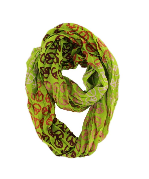 Women's Fashion Peace Design Print Infinity Loop Scarf - Green - CG12MXR4QWQ