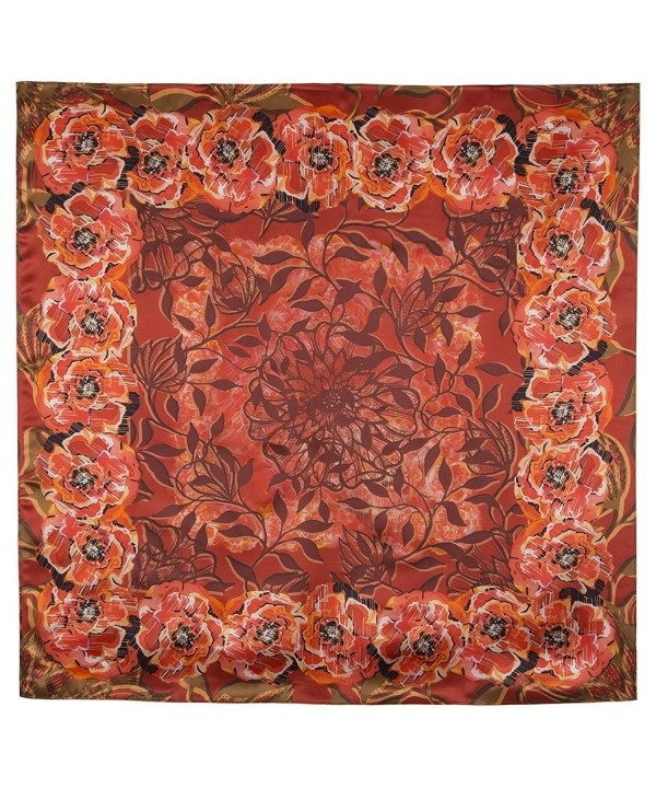 Pavlovo Posad Shawl Scarf Wrap 100% Silk Satin 35x35'' 28 vibrant colors - Orange - CF12FFIPSDR