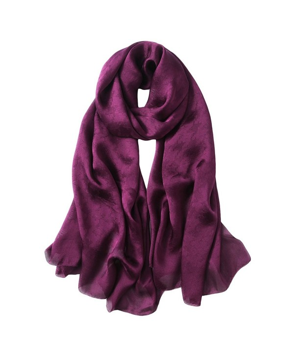 PenGreat Women's Ravishing Jacquard Solid Color Silk Shawl Wrap Pashmina Cover Up - Jacquard Scarf03 - CQ185W0K57K