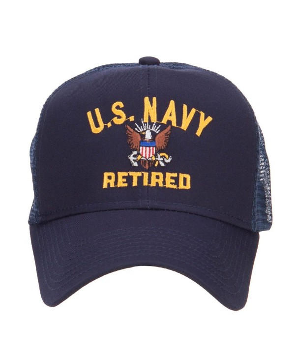 E4hats US Navy Retired Military Embroidered Mesh Cap - Navy - CA124YM9R8H
