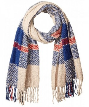D&Y Women's Large Scale Plaid Woven Blanket Scarf - Blue - CV12JOP73R1