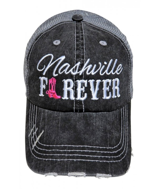 "Embroidered ""Nashville Forever"" Grey Vintage Baseball Trucker Cap Hat Western - Hot Pink Cowboy Boot - CP12NT0EC11"