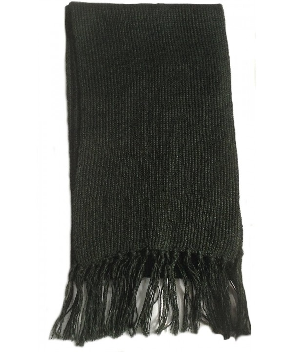 Alpakaandmore Unisex Alpaca Wool Fringed Scarf 63x4.72 - Black - CJ125HEARXT