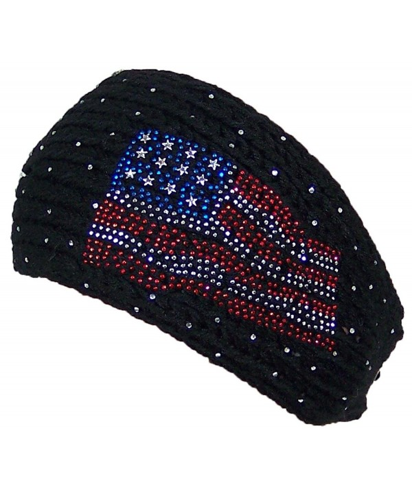 D&Y Womens Tight Rib Knit Headband W/Jeweled American Flag Design (One Size) - Black - CG125EPPQA5