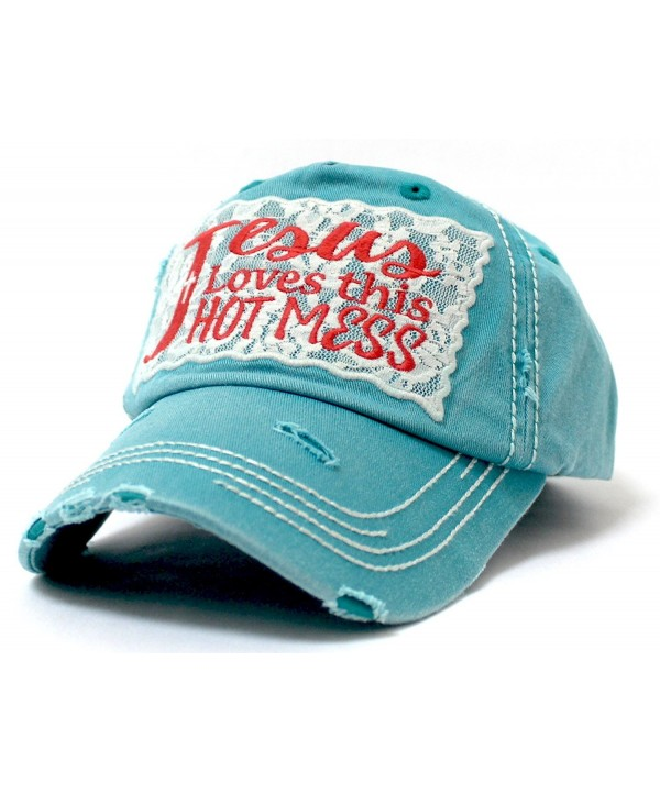 "LACE ""Jesus Loves this HOT MESS"" Embroidery Patch Vintage Cap - Turquoise - CV185D48XCK"