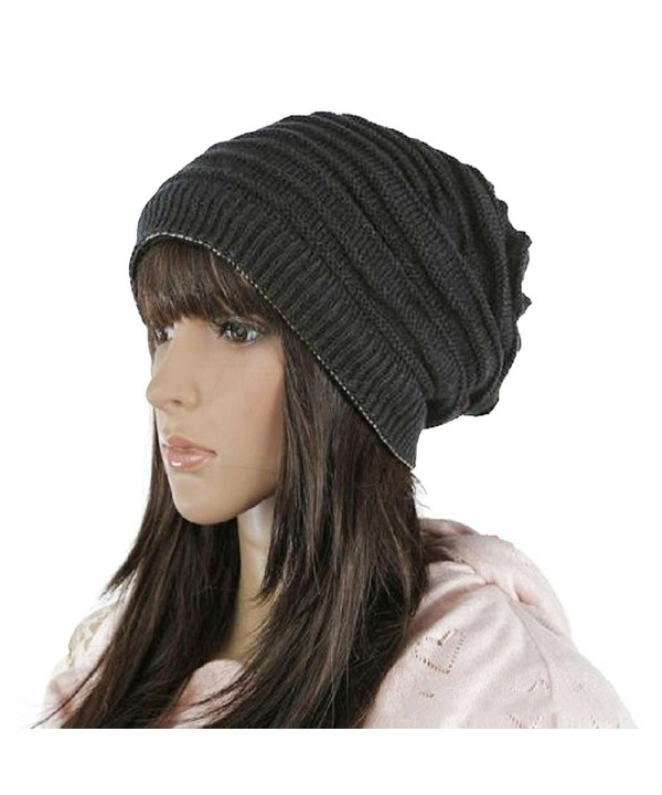 HindaWi Winter Reversible Beanie Infinity Scarf Slouchy Hat Knit Ski Skull Cap For Women Men - Black - CB187Q8U644