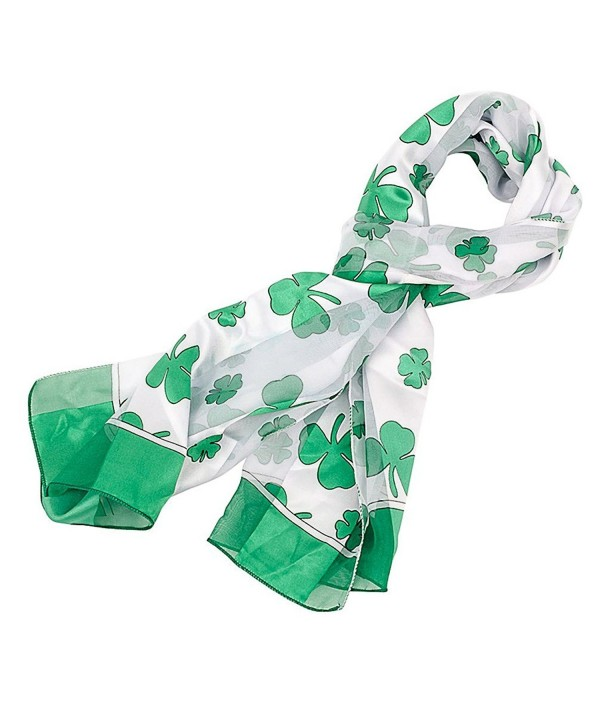 Shamrock Scarf with Green Edge for St Patrick's Day in White - CA11CTF4H2D