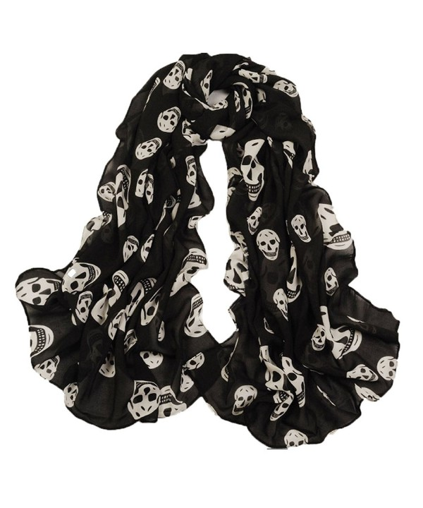 PUXIAN Designer Lightweight Skull Neck Fashion Scarves for Women Clearance - Black - C712NA2F2X9