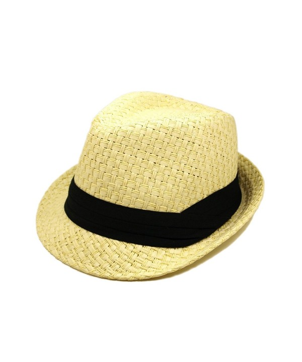 Premium Classic Natural Fedora Straw Hat with Black Band - CZ1107LKDID