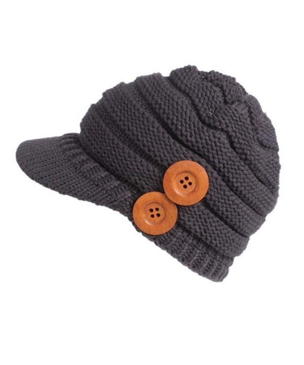 Brim Hat Beanie Hat - Binmer(TM) Women Ladies Winter Button Knitting Berets Turban Brim Hat Pile Cap - Gray - C11889WOA2U