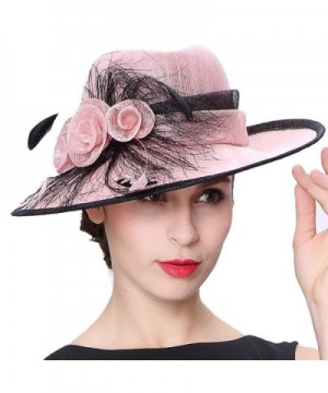 Koola's hats Champagne Brown 3 Layers Sinamay Kentucky Derby Church Sun Summer Hats - Pink - CV12FZF0BJB