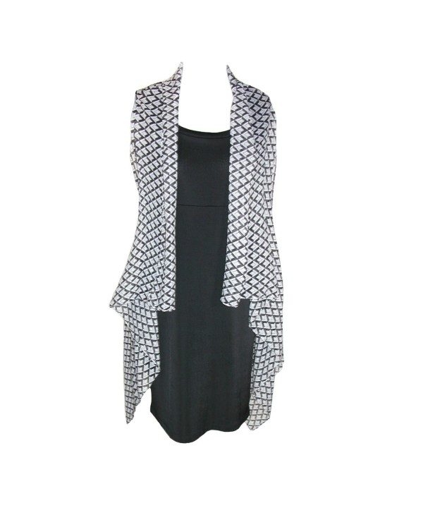 CTM Women's Sheer Lightweight Geometric Vest Shawl - Black and White - CG11VC48XT5
