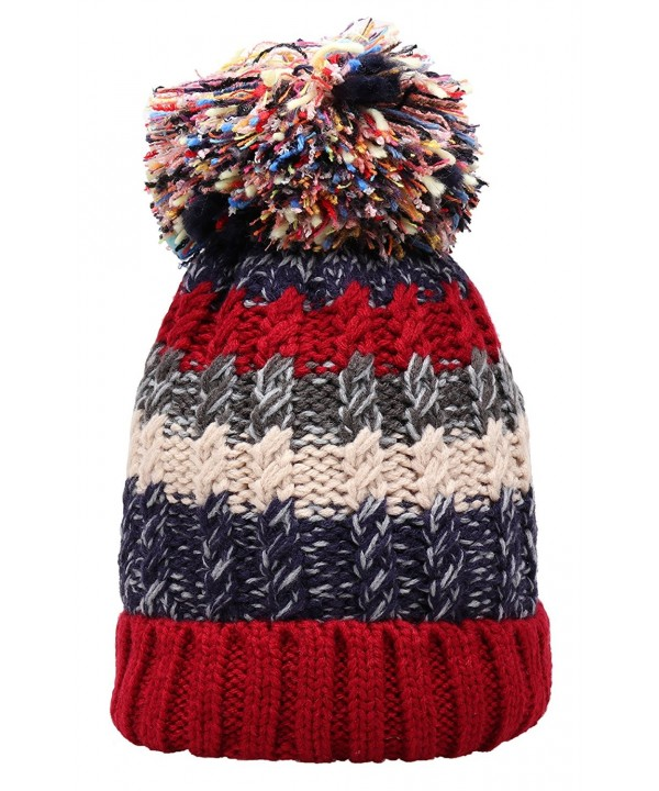 Women Winter Beanie Warm Colorful Cable Knit Fleece Lined Pom Hat M29 - Red - C91867E86WM