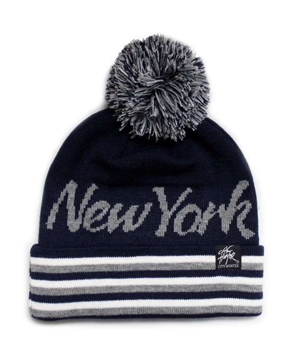City Hunter Sk930 Stripe Script City Pom Knit Beanie Hat -New York (7 Colors) - Navy/Light Grey - CX11GHE74RH
