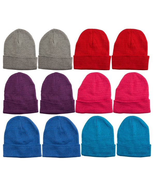 excell 12 Units Mens Womens Warm Winter Hats In Assorted Colors- Mens Womens Unisex - Assorted Solids (A) - CL11NSEHWGR
