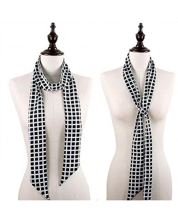 StylesILove Chic Plaid Print Headband Skinny Scarf- 5 colors - Black - CN12CJIF2YV