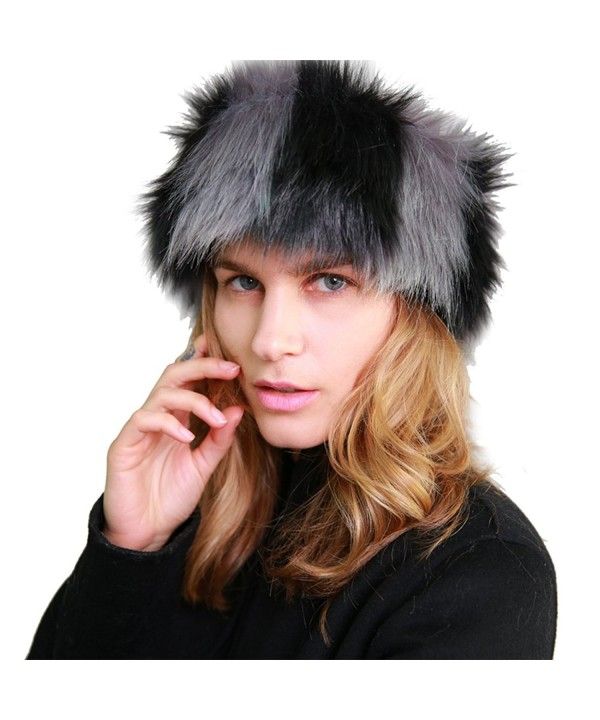 MissShorthair Faux Fur Headband-Neck Warmer for Winter Earwarmer Earmuff Hat Ski - Black and Grey - C2186AMO298