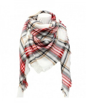 SUNDAYROSE Plaid Blanket Scarves Oversized Winter Warm Sqaure Tartan Shawl Wrap - White Red Grey - CF186OEXAXY
