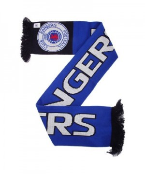 Rangers FC Official Nero Knitted Football Crest Supporters Scarf - Blue/Black/White - C112307FCZT
