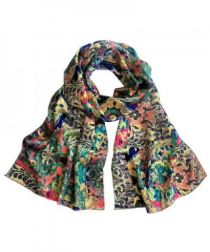 TC Luxury Chiffon Silk Blend Scarves in Solid Color and Beautiful prints - Multi Heaven - CA18286S54M