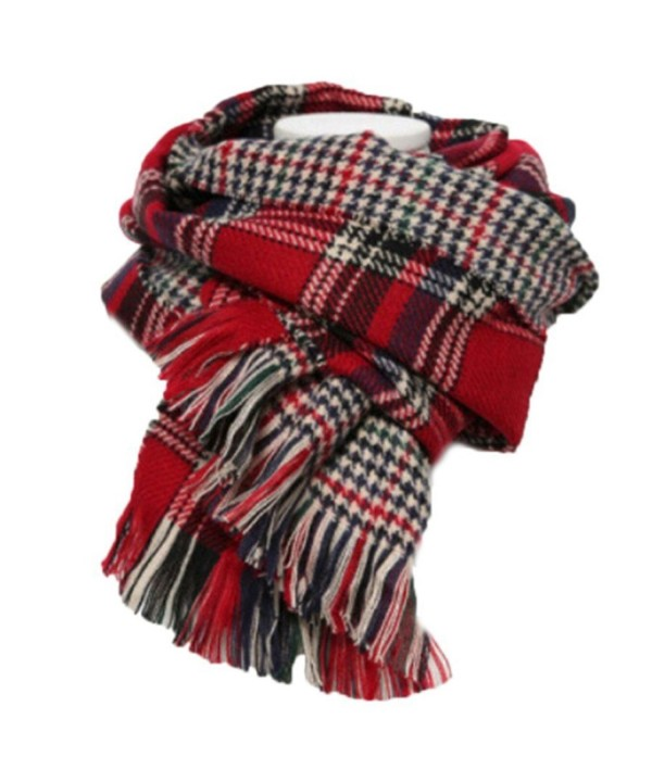 Women's Colorful Plaid Tartan Blanket Scarf Large Winter Shawl Wrap with Fringe - Red - CU12612M3H5