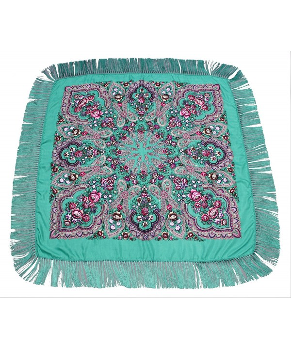 Dzhavael Couture Womans Russian Style Wool Large Babushka Shawl Wraps Scarves - Green - C6187EIC9L4