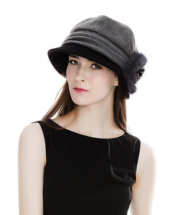 SIGGI Cloche Round Hat For Women 1920s Fedora Bucket Vintage Hat Flower Accent - 69160_grey - C3120XDSXJP