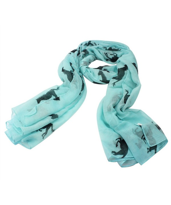 New Fashion Large Shawl Animal Horse Print Scarf Wrap Stole Voile Gift - Blue - C211LCQ5RN3