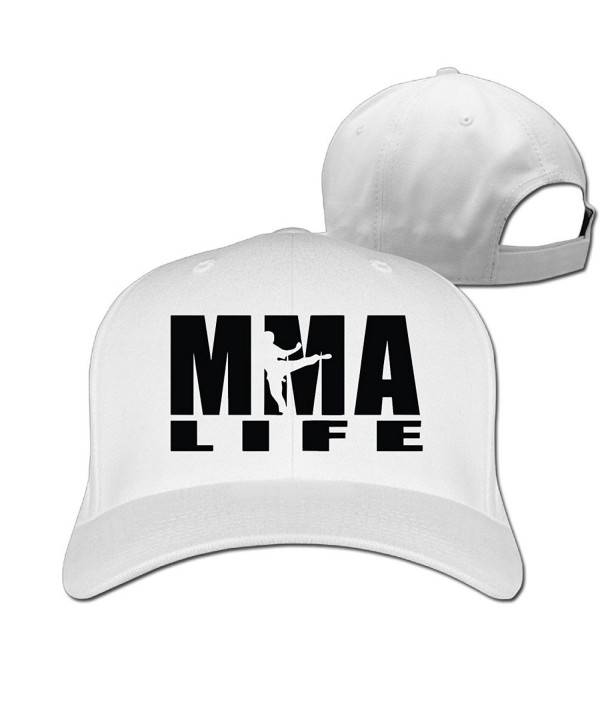Mma Life Unisex Classic Cotton Adjustable Caps - White - CX186DLKR8G