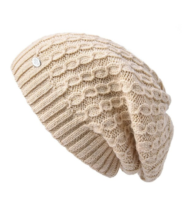 ENJOYFUR Womens Slouchy Beanies Knitted Wool Hat Double Layer - Light Yellow - CM186ZOI3X5