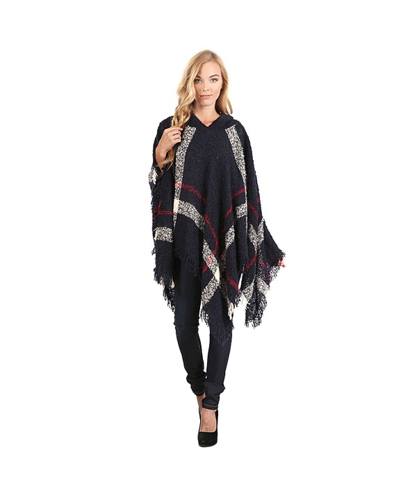 Hooded Plaid Poncho with Tassels - Navy and Red - CM127YK89SZ