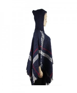 Hooded Plaid Poncho Tassels Navy in Wraps & Pashminas