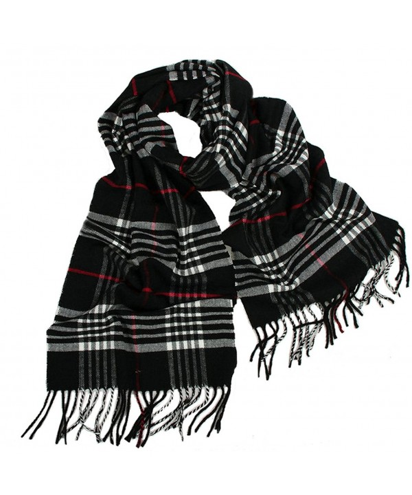 6 Colors Womens Warm Check Cashmere Scarf Fringe Trim Shawl - Black - CS126TY9EOP
