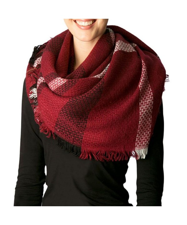 Apparelism Women's Winter Oversized Plaid Square Large Blanket Scarf Wrap Shawl. - A.burgundy - CV186GNR65Y