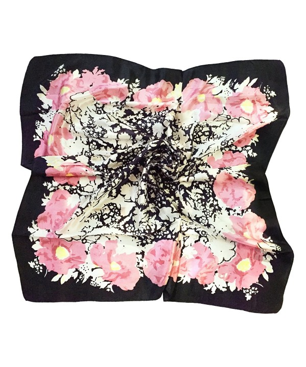 TONY & CANDICE Women's Graphic Print 100% Silk- Silk Scarf Square - 33X33 Inches - New White Pink Flowers - CZ185D65AYO