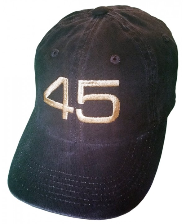 45 Trump Hat/Cap - Black Structured Mesh Back OR Unstructured - Distressed Black/Gold Embroidery - CU12NT7NXHR