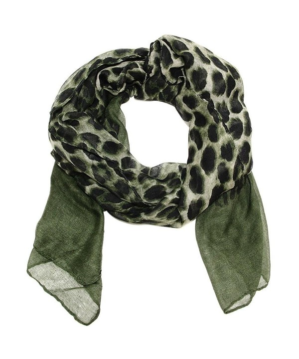 Large Ombre Leopard Scarf in Dark Army Green - Army Green - CL185TGS2QH