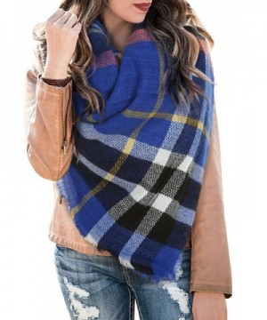Huiyuzhi Womens Casual Warm Color Block Plaid Blanket Scarf Gorgeous Wrap Shawl - Multicolor-36 - C5187MZIGZQ