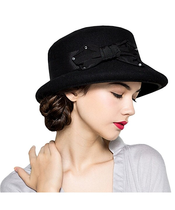 Maitose Women's Bow Flowers Wool Felt Bowler Hat - Black - C212MCIFTWX