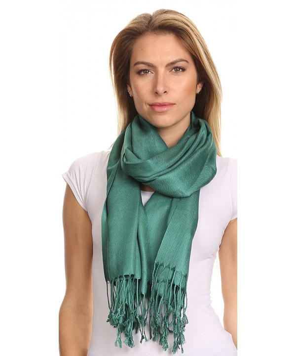 Sakkas Silky Solid Soft Pashmina Shawl Wrap Stole - Teal - CY113PH2SKR