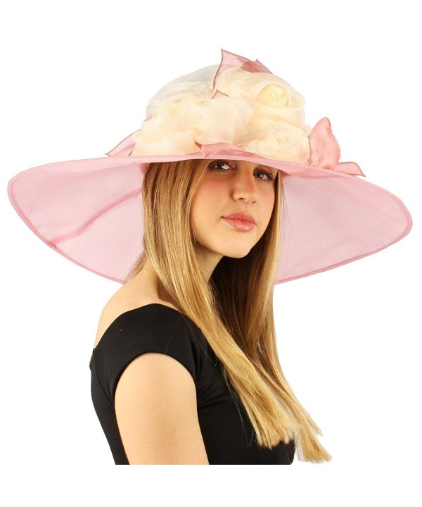 "Scarlet Kentucky Derby Floppy Rose Floral 7"" Wide Brim Organza Church Hat - Pink - C011VWVMJ75"