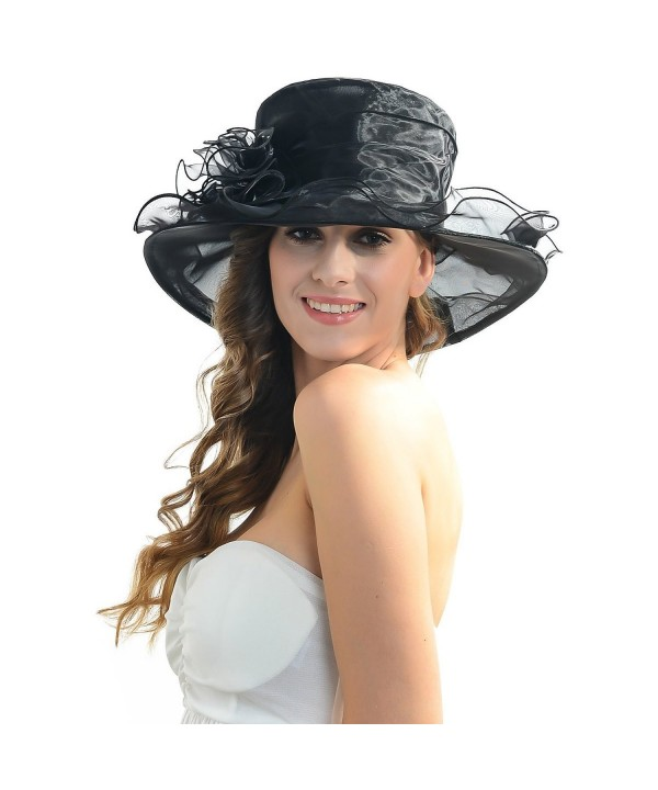 IL Caldo Women's Fascinator Flowers Wide Brim Gauze Hat Headdress Kentucky Derby Church Dress Sun Hat - Black - CJ12C5BHR5J