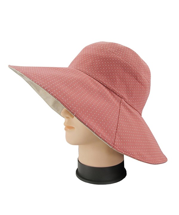 Ledamon Women's Sun Hat Reversible Wide Brim Floppy Outdoor Beach Sun UV Protection Cap - Light Red - C318CDA4H9R