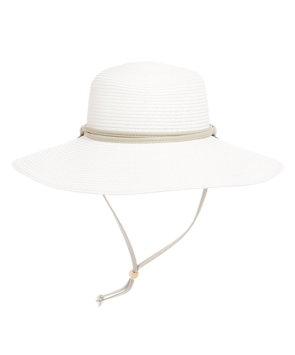 Sloggers Womens Wide Brim Braided UPF 50+ Hat - White - CG11Q2REDSR
