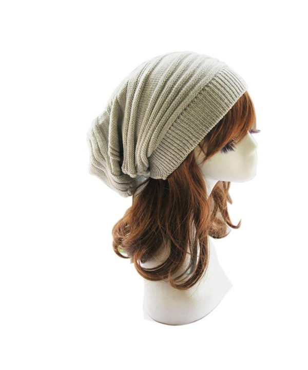 SMYTSHOP Hot!Unisex Knit Baggy Beanie Beret Winter Warm Oversized Ski Cap Hat - Beige - CQ1842525AN
