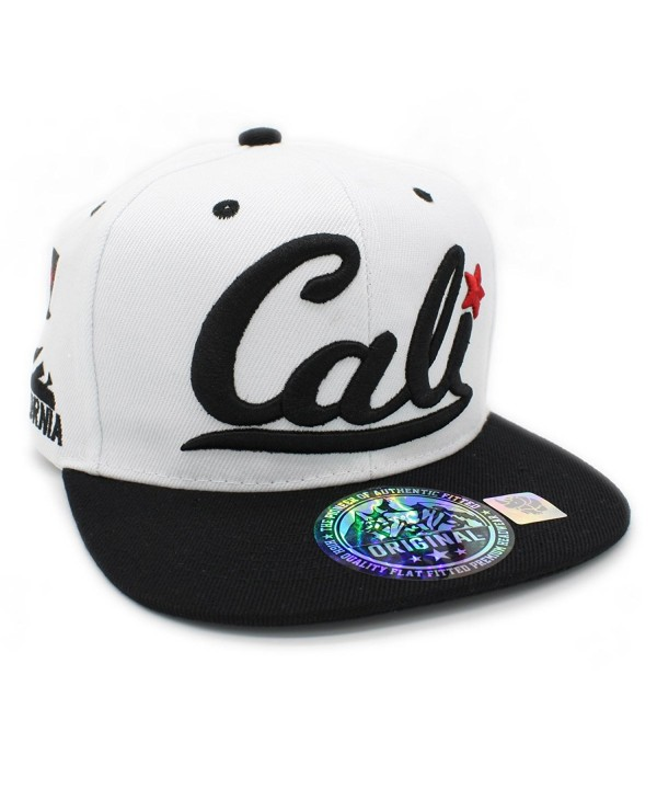 LAFSQ Embroidered Cali With California Map Snapback Cap - White/Black - CT187N5DNNL