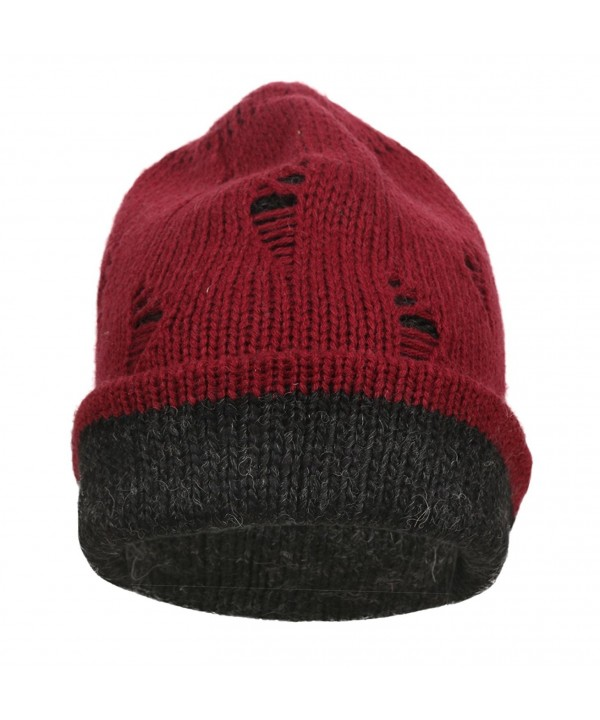 Ypser Slouch Beanie Knitting Reversible - Wine Red/Black - CU184WE37YX